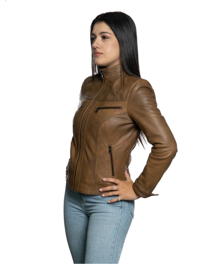 Violetta - Women Genuine Aged Red Leather Jacket - 5