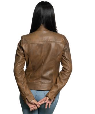 Violetta - Women Genuine Aged Red Leather Jacket - 6