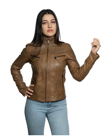 Violetta - Giacca Donna in Vera Pelle colore Rosso Invecchiato - 7