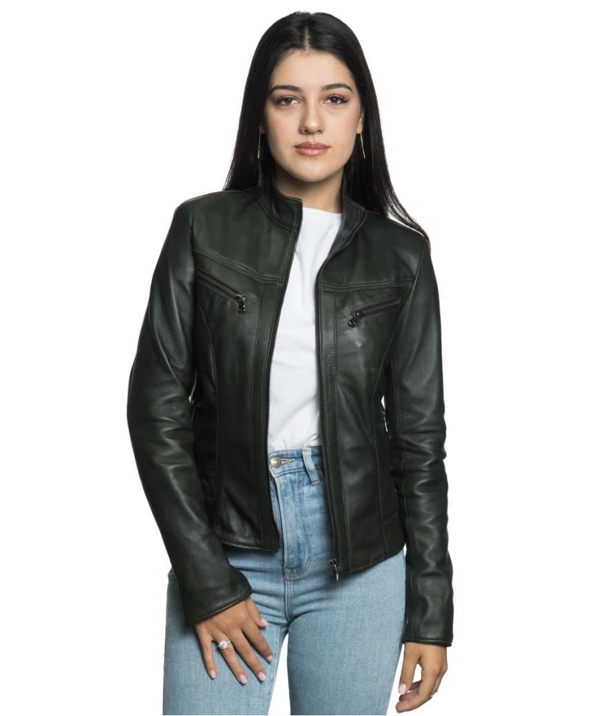 Zara - Giacca Donna in Vera Pelle colore Cuoio Invecchiato