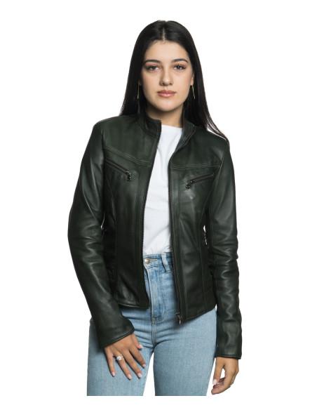 Zara - Women Jacket of Genuine Aged Brown Leather - 1
