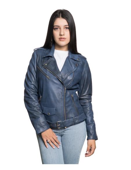 Violetta Bis - Women Jacket of Genuine Aged Green Leather - 1