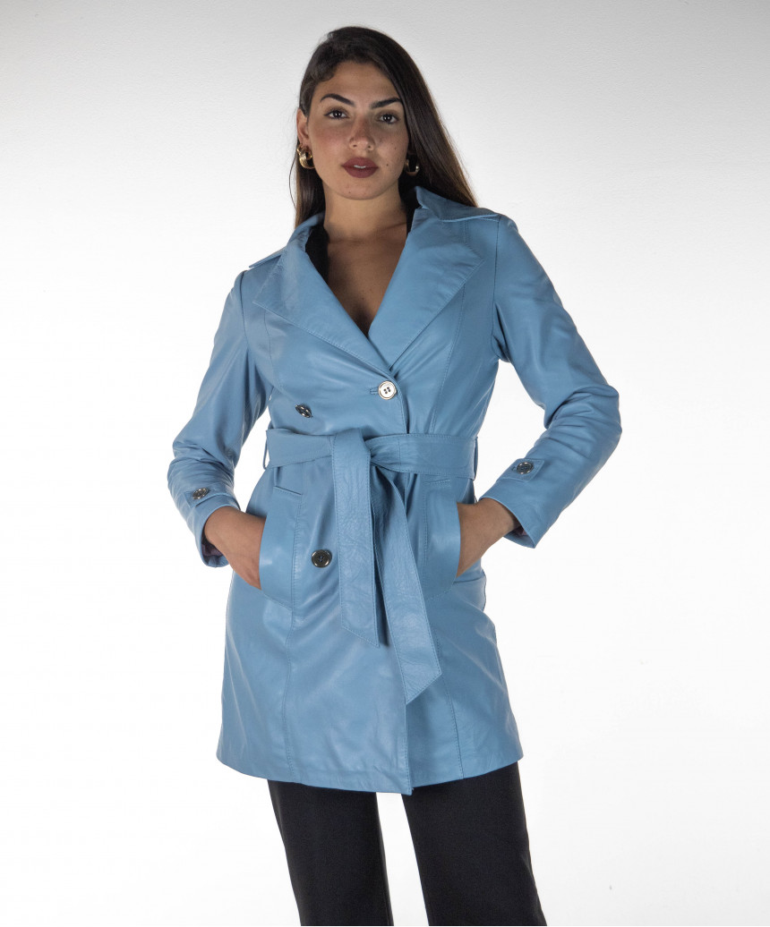 Michelina Cap - Woman Jacket with Hood in Genuine Leather Oil Vintage Leather color