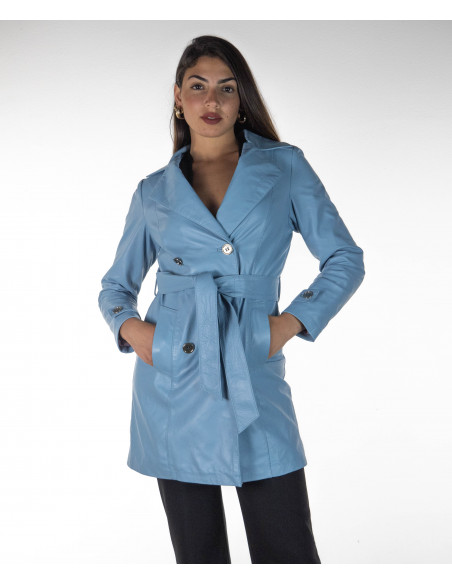 Michelina Cap - Women Hooded Jacket in Genuine Brown Leather Oil Vintage - 1