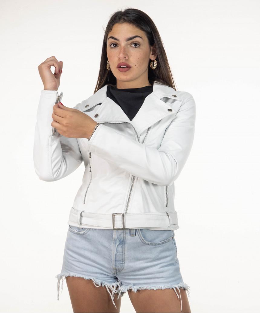 Violetta BIS - Giacca Donna in pelle colore beige, collo coreana