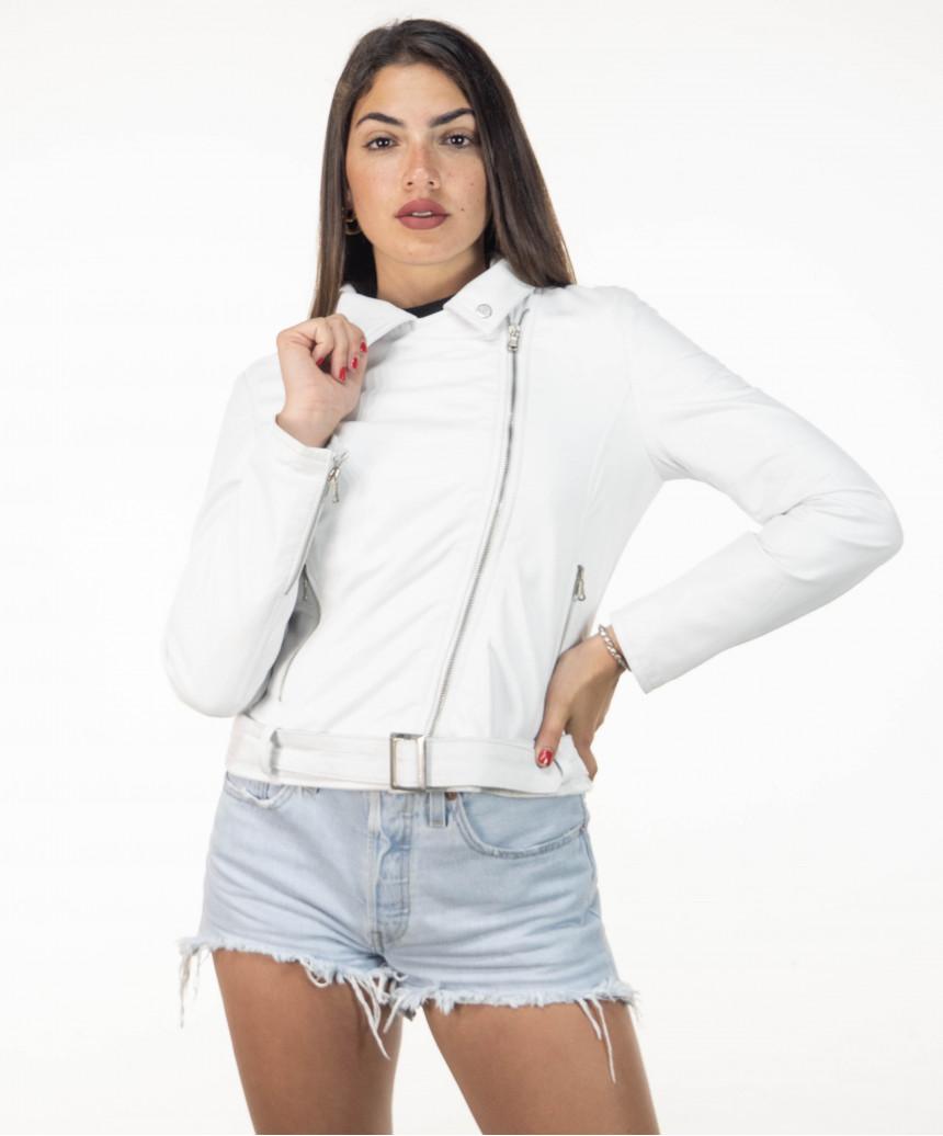 Violetta Bis - Women Jacket in Genuine Beige Soft Leather - 6