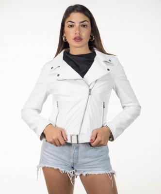 Violetta Bis - Women Jacket in Genuine Beige Soft Leather - 7