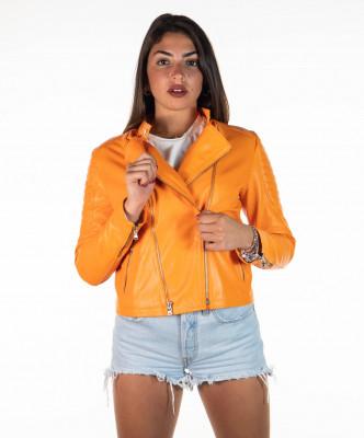 Violetta Bis - Women Genuine Mud Color Leather Jacket Oil Vintage - 5